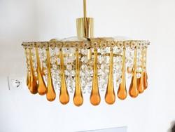 Gyönyörű retro,vintage borostyán üveg cseppes csillár,designe csillár