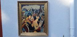 Francia festőművész csodálatos,.EREDETI alkotása 68x55-s olaj fára