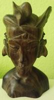 AKCIÓ!Antik elegáns faragott rózsafa női büszt Bali szigetekről olcsón eladó!