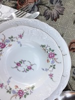 7 db lapostányér - Wawel rózsás - domború mintás lengyel porcelán lapos tányérok