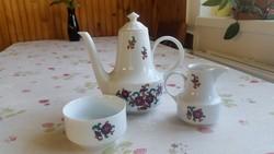 Retro,vintage virágos  kávéskanna., kiöntő, tál, cukortartó, 6 db kis tányér eladó! 1777