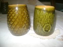 Tizenhat darab retro kerámia boros pohár - fatörzs és makk mintás