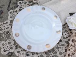 Gyönyörű aranyozott német porcelán desszertes tányér - nagyméretű lapostányér - süteményes tálca