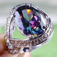 Gyönyörű mystic topáz köves, 925 jelzésű gyűrű 10