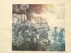 Egresi Zsuzsa, Dunaújváros, színes, korai rézkarc, 85/100