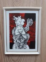 Szász Endre hollóházi porcelán falidísz, porcelán kép