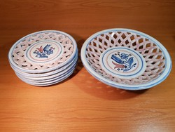 Gmundner reticulated, handpainted plates. Wonderful, rare service in perfect condition!
