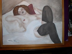 Fried Pál aláírással: Akt, karton tempera-pasztell 40 x 50 cm plexi mögött tartókeretben