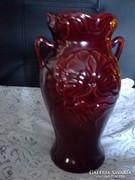 Zsolnay : Ökörvér színű váza, körpecsétes