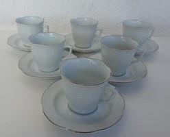 Régi aranyszegélyes diszkrét fehér mintás kávés készlet 6 fő részére