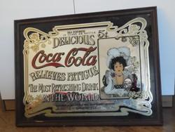 Coca Cola - Ritka retro Coca-Cola tükör - üveg és a fa keret