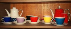 Retro színes vidám Kahla 7 személyes teás, 3 kancsóval