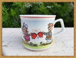"""Nagyon ritka, """"Az erdő kapitánya"""" Zsolnay porcelán gyerek készlet bögre !"""