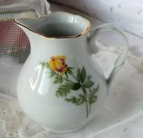 Sárga rózsás porcelán kiöntő, kancsó
