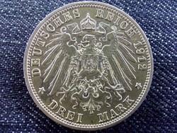 Németország Második Birodalom (1871-1918) .900 ezüst 3 Márka 1912 A / id 10669/