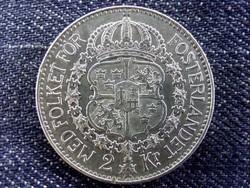 Svédország V. Gusztáv (1907-1950) .800 ezüst 2 Korona 1924 W / id 10659/