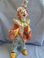 Régi Capodimonte porcelán bohóc szobor GIGANTIKUS MÉRETBEN 46 CM magas hibátlan darab