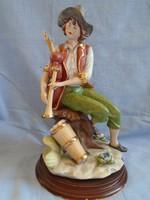 Olasz CAPODIMONTE porcelán nem műgyanta szoboregyüttes Skót dudás