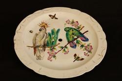 Asztalközéphez való, antik, porcelán papagájos tál