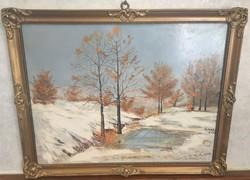 Téli tájkép Simon Zoltán jelzett (olaj) festmény 40 x 50 cm