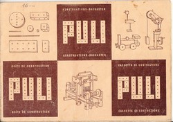 """""""PULI"""" fa építőjáték 3 nyelvű képes árjegyzéke ca 1940"""
