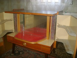 Retro TV asztal, világítós,  forgó bárral - 1978