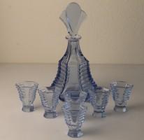 Art Deco cseh üveg likőrös készlet, csiszolt és hámozott üveg palack és 6 db  pohár