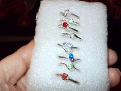 Egyben 8 db színes cirkon Gyűrű csomag 18-as