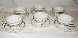 Csodás Rosenthal fehér arany teáskészlet 6 csésze aljával 1927s'