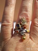 925-s ezüsttel töltött (SF) gyűrű,  ametiszt és karneol kristályokkal