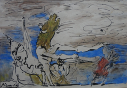 Picasso mitológiai témájú akvarellje COA-val!