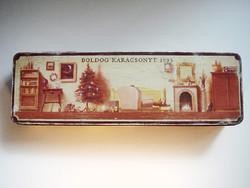 Régi karácsonyi Sopianae cigarettás fémdoboz 1995 retro cigis díszdoboz