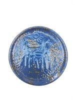 Ritka kék színű retro Tófej kerámia falitál - lovas falitányér
