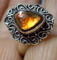 925 ezüst gyűrű, 18,5/58 mm, ammolit szelettel