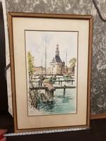 Színes kikötői rajz/tus, szignós