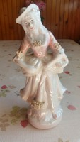 Hibátlan lüszteres porcelán figura rózsaszín ruhás kedves női szobor eladó!