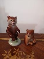 2db porcelán maci, Drasche táncoló, medve szobor (zsűrizett)