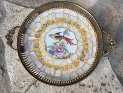 Mediterrán hagulat: madaras porcelán mozaik antik füles tálca