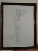 Ceruzarajz, női akt, kép papír alapon üvegezett keretben