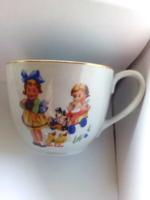 Nagyon ritka Drasche mesejelenetes teáscsésze