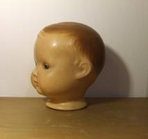 Régi antik jelzett kerámia vagy porcelán babafej, baba fej-nem papírmasé!