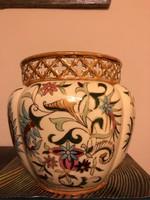 Zsolnay,régi nagyméretű áttört szélű díszkaspó ritka dekorral-kiváló állapotban!