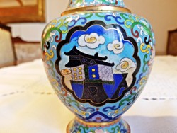 Régi rekeszzománc váza, 18,5 cm.