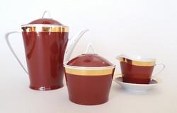 Régi Hollóházi retro porcelán kávés kanna kiöntő cukortartó 3 db