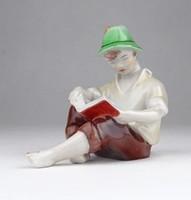 0X993 Régi jelzett Drasche olvasó kalapos fiú
