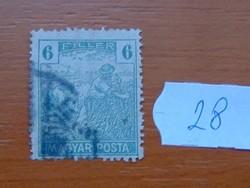 6 FILLÉR 1919 Magyar Posta Arató 28#