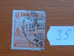 45 FILLÉR 1919 Magyar Posta Arató 35#