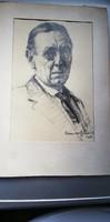 Lühnsdorf Károly (1893-1958)  Szomory Dezső arcképe  eredeti ceruzarajz 1931.