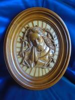 Kézi faragású fa Krisztus kép.