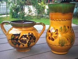 Népi kerámia váza és csupor együtt a 2 db